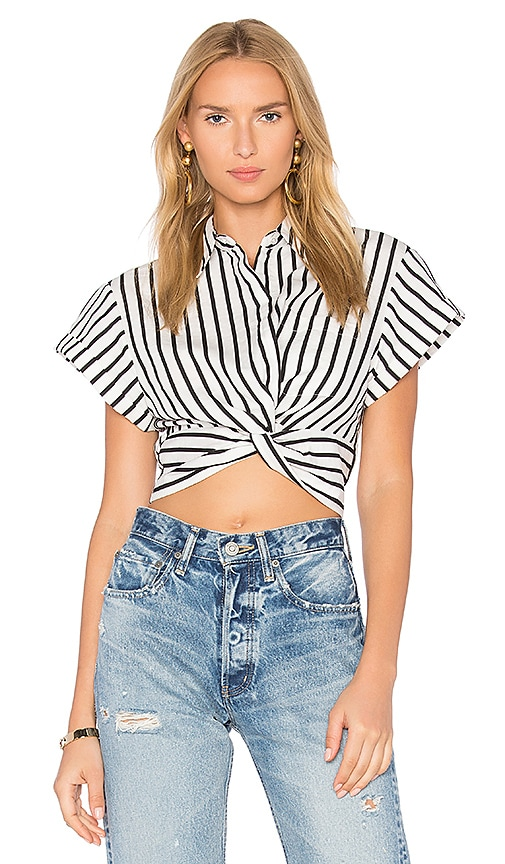 T by Alexander Wang Twist Front Top in Black & White
