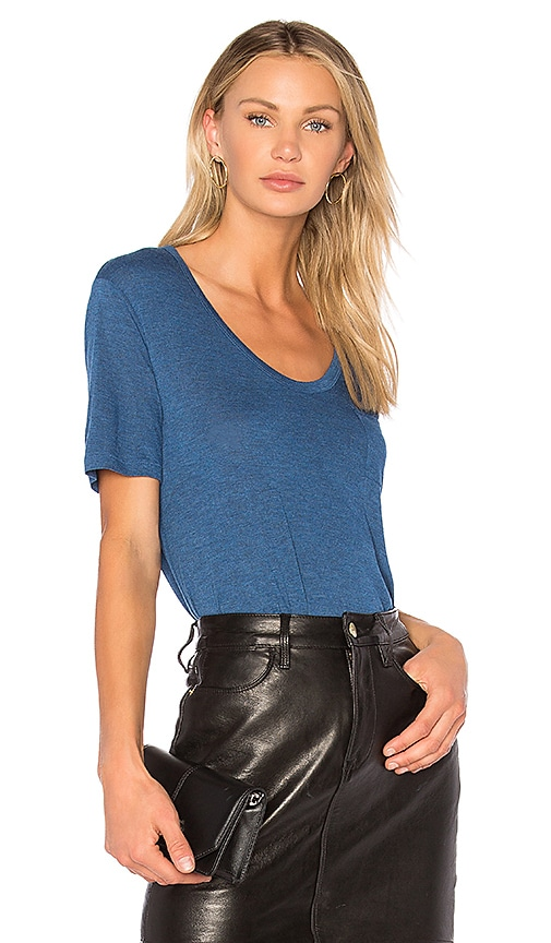T by Alexander Wang Cropped Tee in Blue