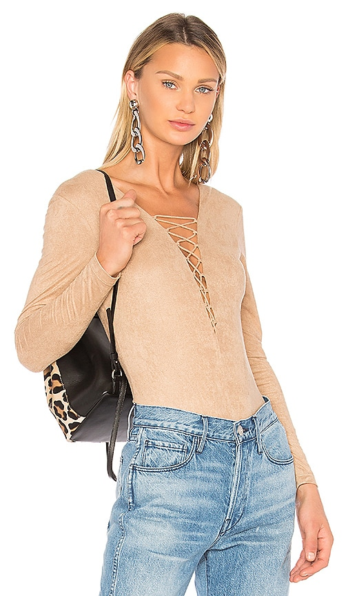 0bffa351c9 Faux Suede Lace Up Bodysuit. Faux Suede Lace Up Bodysuit. T by Alexander  Wang