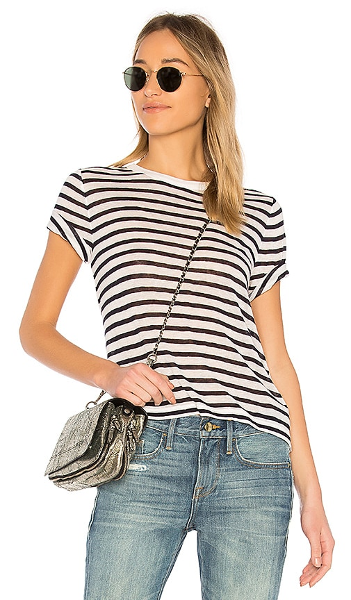 86604d599151 T by Alexander Wang Slub Jersey Cut-Out Tee in Ivory   Ink Stripe ...