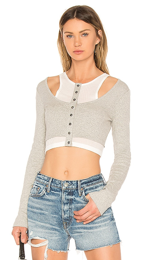 T by Alexander Wang Layered Mixed Media Crop Top in Gray
