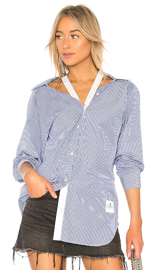 T by Alexander Wang Striped Long Sleeve Shirt in Blue