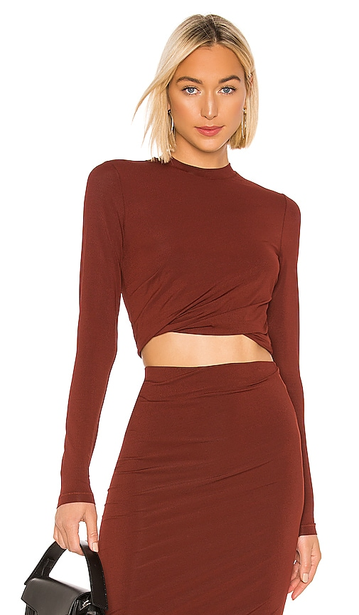 Crepe Jersey Twisted Long Sleeve Top