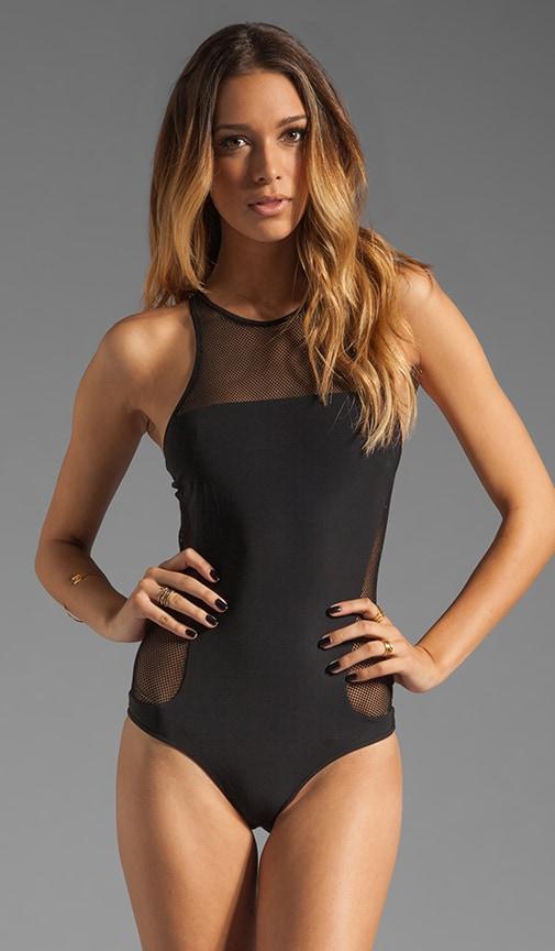 Mesh Racer Back Zip Up Swimsuit