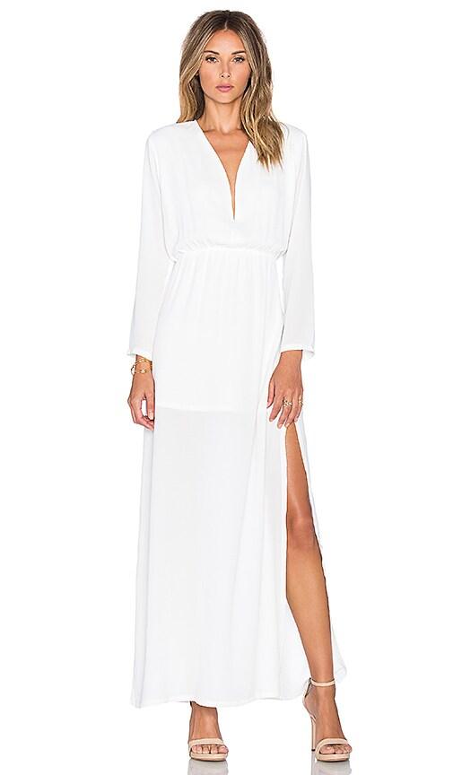 Three Eighty Two Gemma Deep V Dress in Ivory