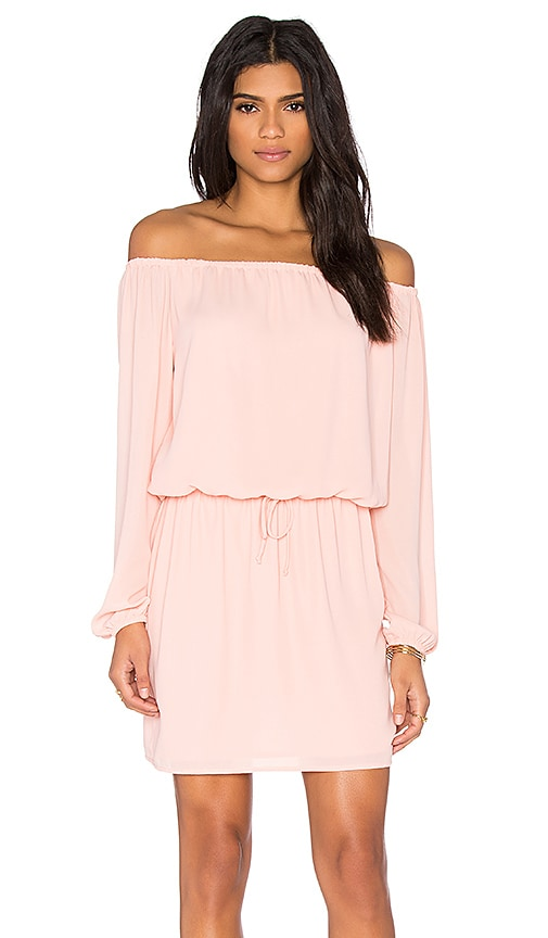 Three Eighty Two Willow Off Shoulder Dress in Peach