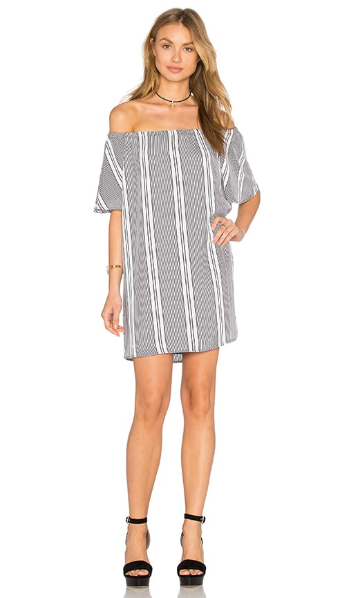 Three Eighty Two Nina Off Shoulder Mini Dress in Laurent