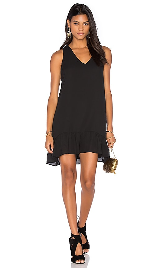 Three Eighty Two Aiken Ruffle Tank Dress in Black