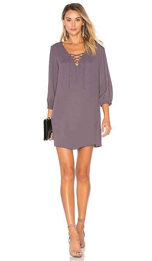 Three Eighty Two Penelope Lace Up Mini Dress in Grey