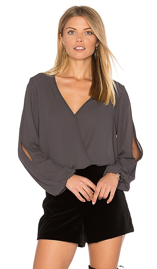Three Eighty Two Amber Surplice Top in Grey