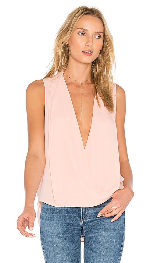 Three Eighty Two Monroe Surplice Tank in Pink