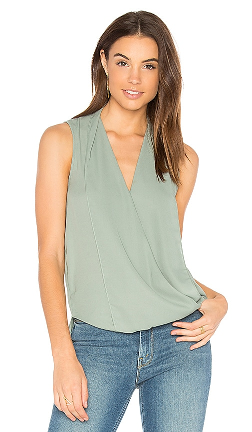 Three Eighty Two Monroe Surplice Top in Sage