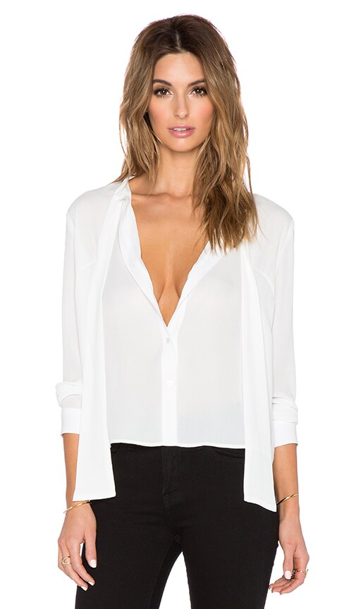 Three Eighty Two Kamilia Tie Front Blouse in Ivory