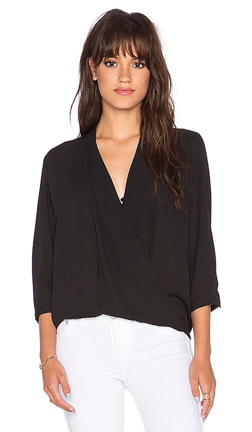 Three Eighty Two Arizona Surplice Top in Black