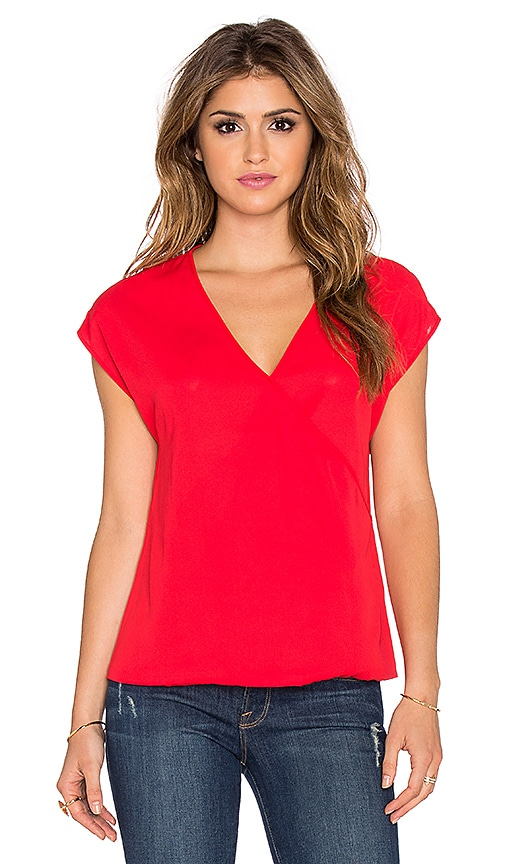 Three Eighty Two Jackson Surplice Top in Scarlet