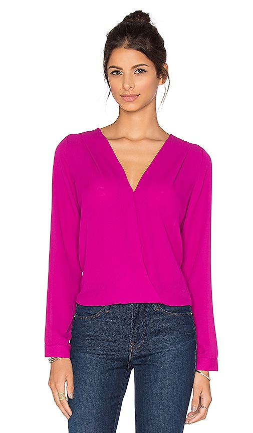 Three Eighty Two Sienna Surplice Top in Orchid