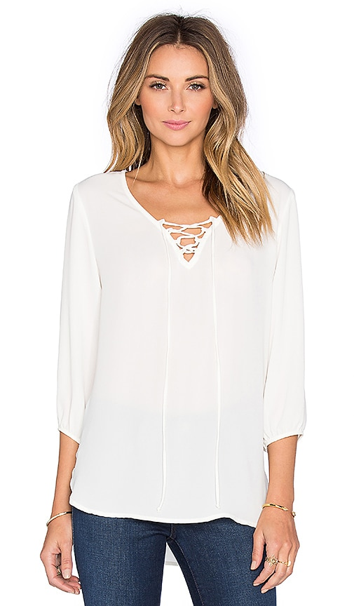Three Eighty Two Harlan Lace Up Top in Ivory
