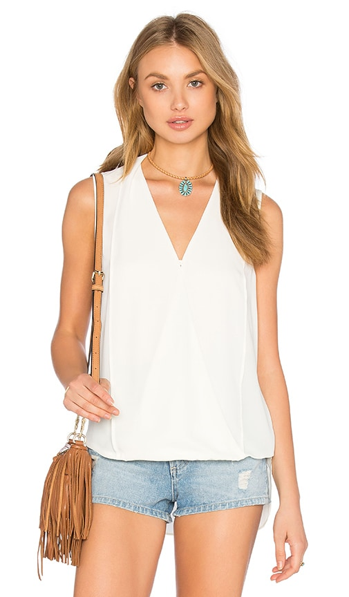 Three Eighty Two Monroe Surplice Top in Ivory