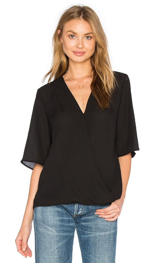 Three Eighty Two Corey Surplice Top in Black