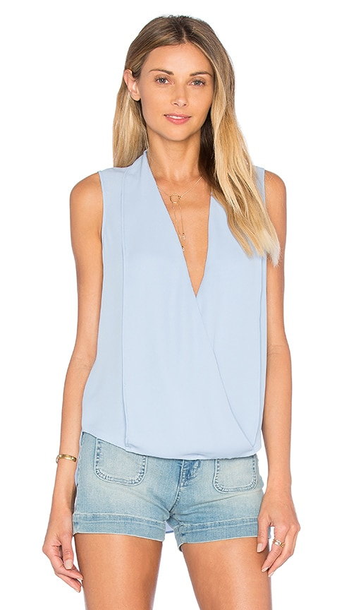 Three Eighty Two Monroe Surplice Top in Blue