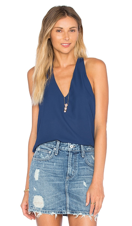 Three Eighty Two Owen V Racerback Top in Navy