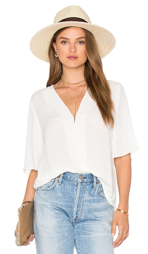 Three Eighty Two Corey Surplice Top in Ivory