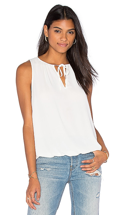Three Eighty Two Lea Peasant Tank in Ivory