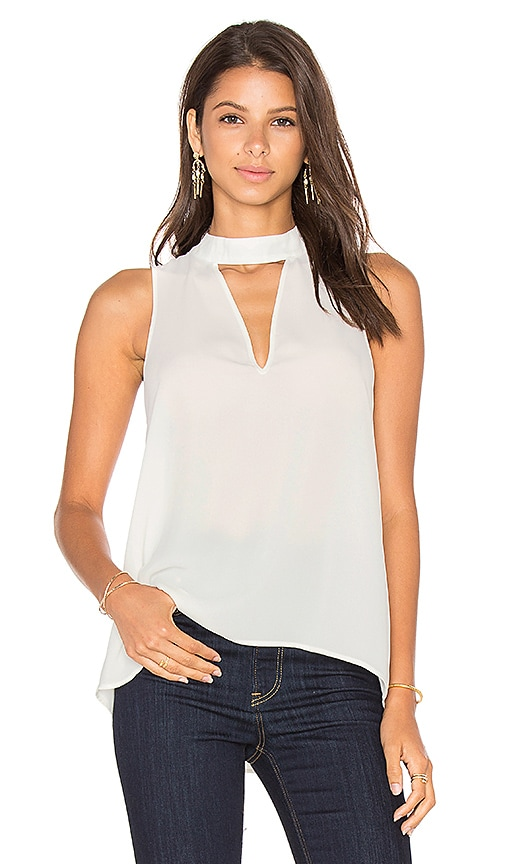 Three Eighty Two Ariana Cutout Turtleneck Top in White