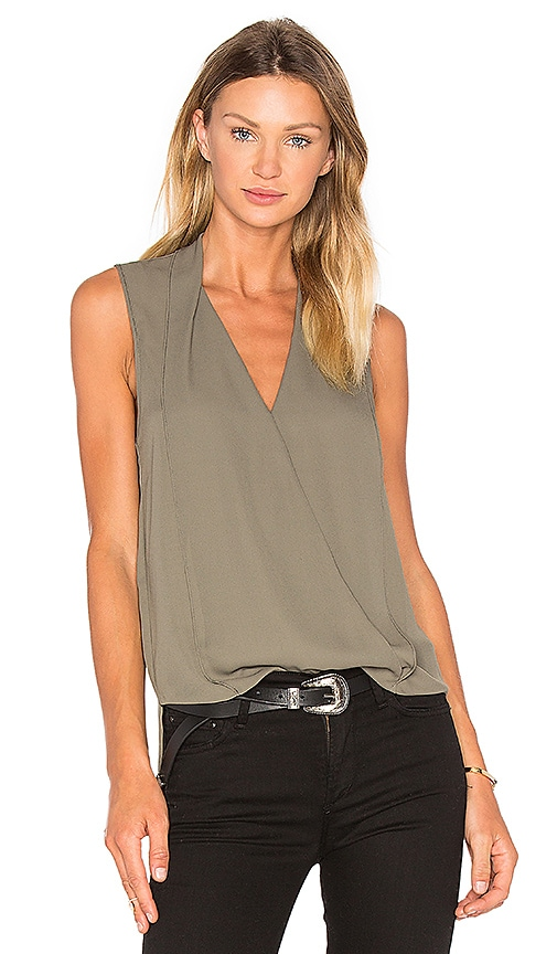 Three Eighty Two Monroe Surplice Top in Army