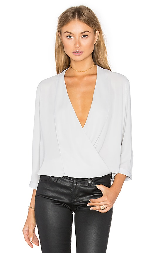 Three Eighty Two Arizona Surplice Top in Light Gray