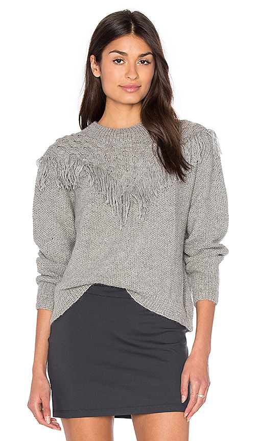 Tejido Fringe Sweater in Gray