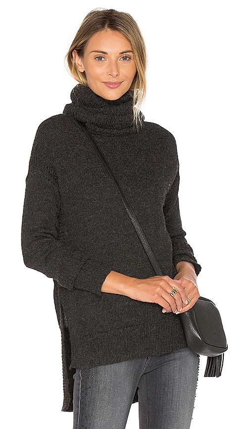 Tejido Funnel Neck High Low Sweater in Charcoal