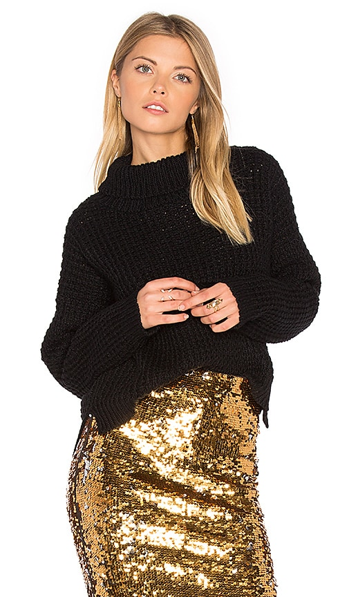 Tejido Waffle Turtleneck Sweater in Black