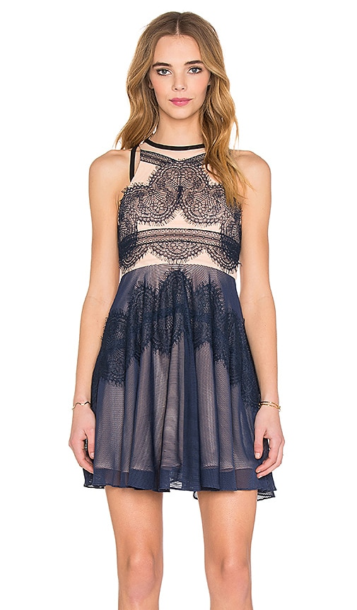 Three Floor Whimsical Dress in Midnight Blue & Nude