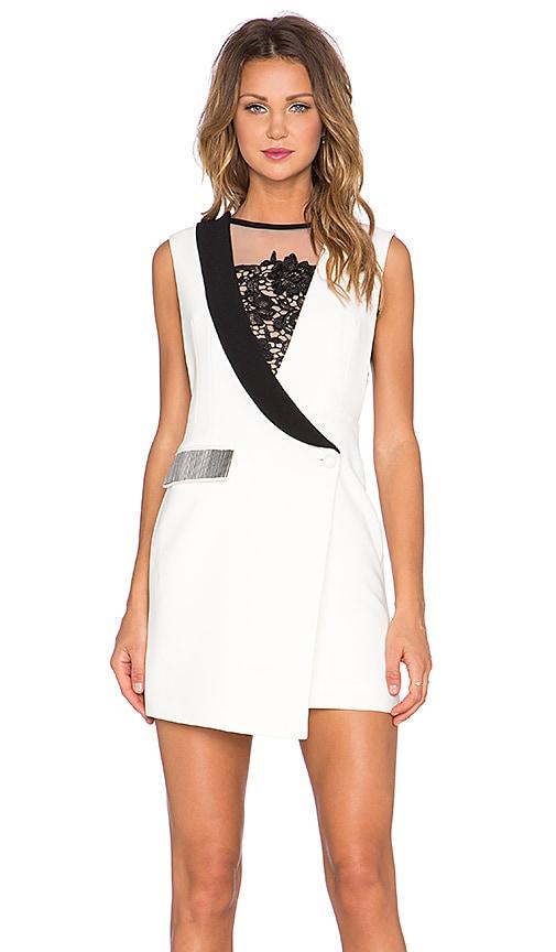 Three Floor Luxedo Mini Dress in White & Black