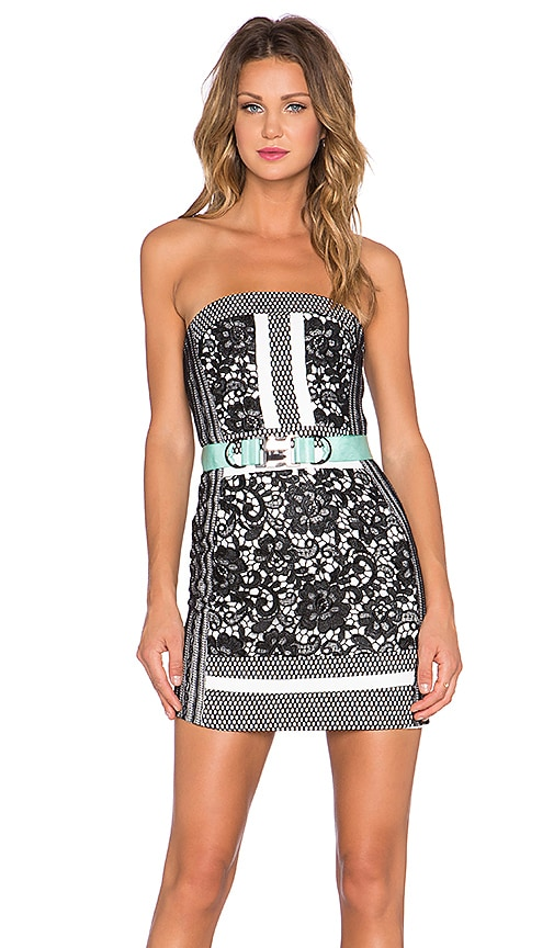 Three Floor Wasson Strapless Dress in Black & White