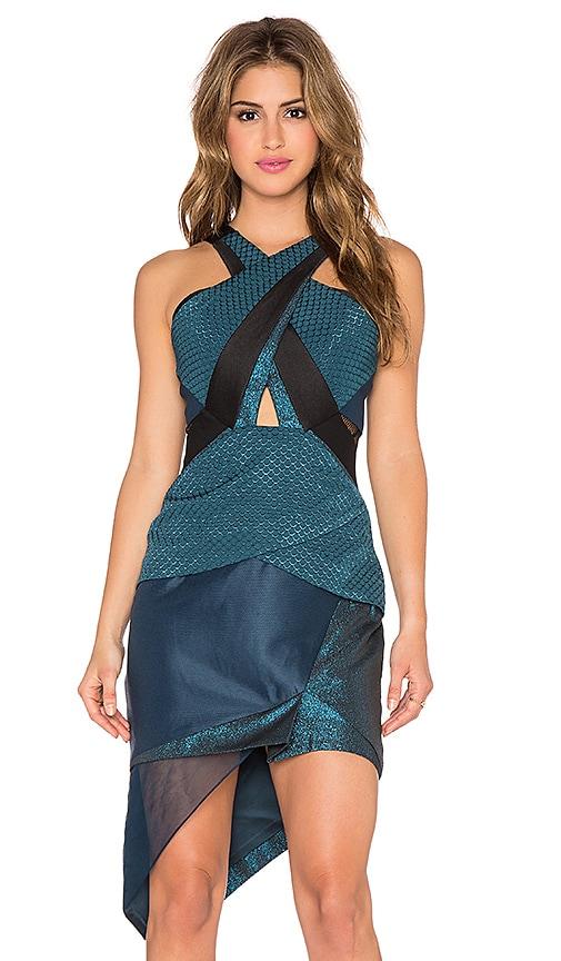 Three Floor Analemma Geometric Halter Dress in Teal & Black