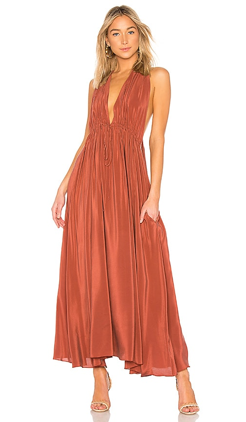 Three Graces Esilena Dress in Rust