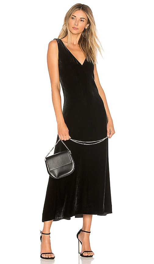 Theory Luxe Velvet Slip Dress in Black