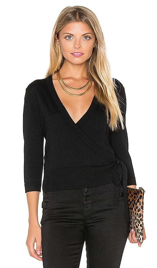 Theory Mellia Wrap Sweater in Black