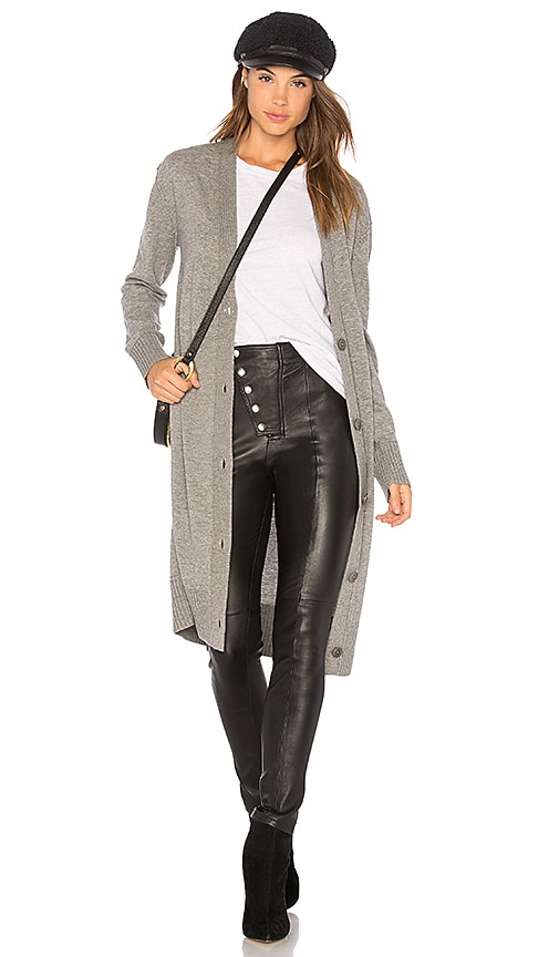 Theory Maxi V Neck Cardigan in Gray