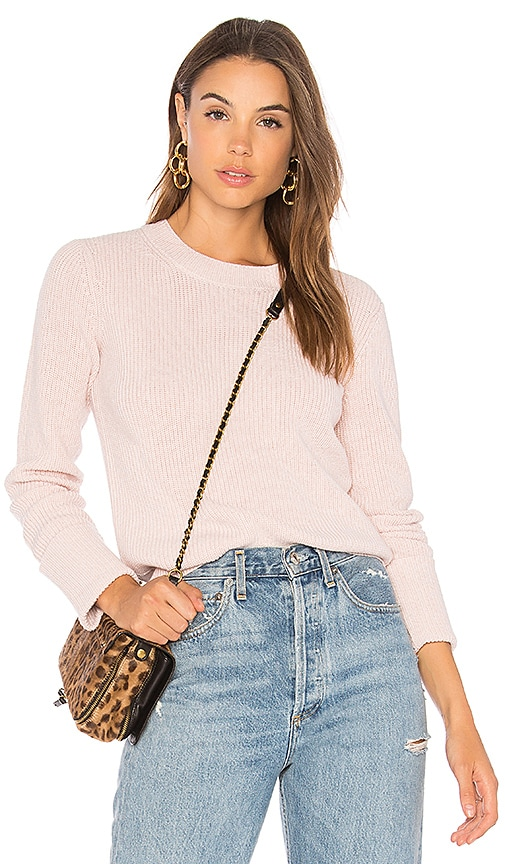 Theory Rib Cuff Pullover in Pink