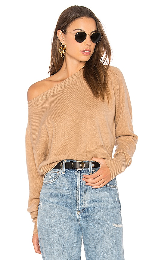Theory Relaxed Boat Sweater in Tan
