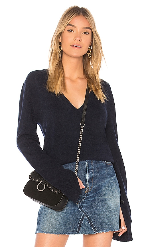 Theory Button Sleeve Pullover Sweater in Navy