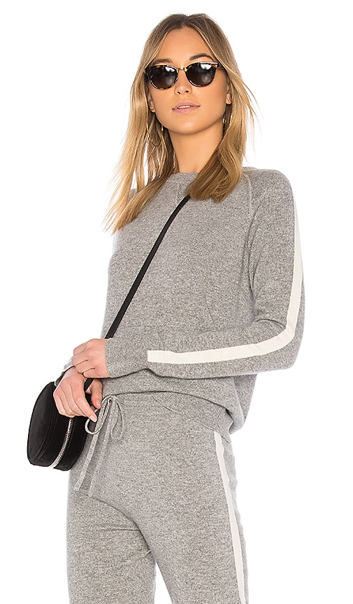Theory Athletic Stripe Pullover Sweater in Gray