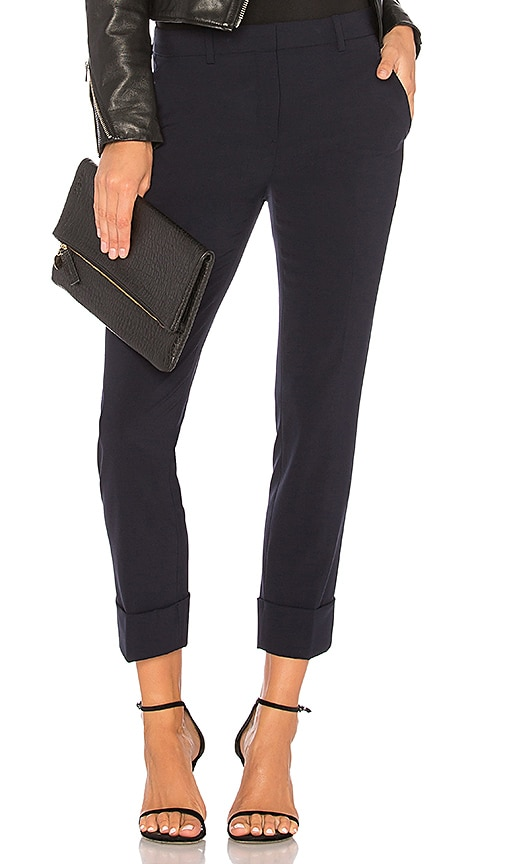 Theory Crop Cuff Pant in Navy