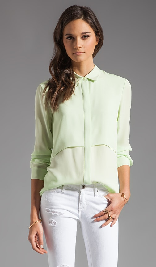 a1aca71de65 Theory Double Georgette Rosita Blouse in Light Green | REVOLVE