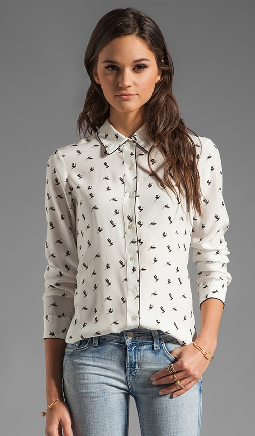 Egret Cully Bird Printed Silk Blouse