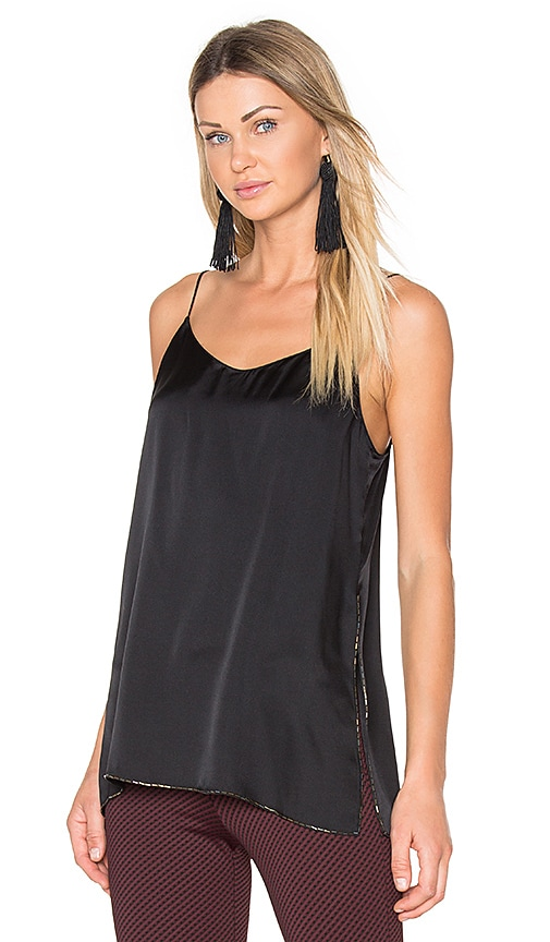 Theory Odete Satin Tank in Black