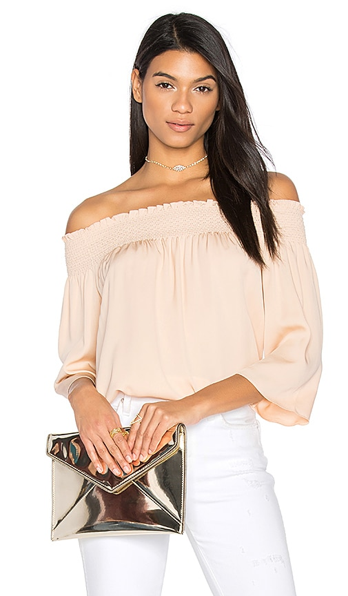 Theory Elistaire Off the Shoulder Blouse in Blush